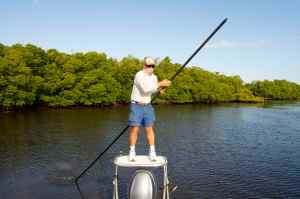 Capt Bill Bassett poles us through The Everglades