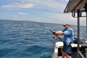 Andrew Leaves take the strain on a a good GT at 'The Sister'. The rod is a Shimano Caranx Kaibutsu Long Cast.