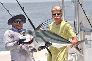 A nice roosterfish caught off Las Perlas, Panama