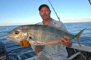 TERRY SMITH WITH YELLOWSPOT TREVALLY CAUGHT OFF NOSY BE DURING GROUP TRIP