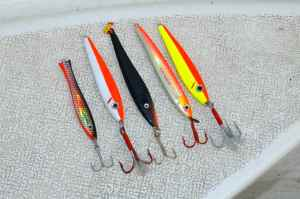 Selection of lures we used for cod & coalfish