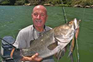 Malcolm Rusby with a nile perch caught trolling Lake Victoria
