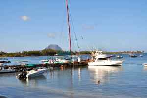 Moana II at the dock at Black river, Mauritius