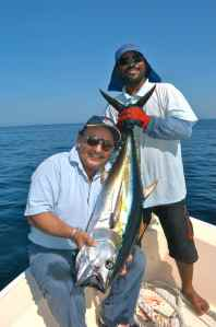 Dr Khana & Salim with an Omani yellowfin