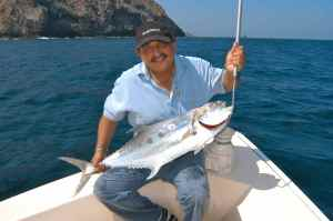 Dr Khana with a queenfish caught off Muscat, Oman