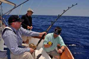 Scott Mackenzie hooked up into a big tuna