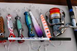 Selection of surface poppers plus my favourite Shimano Caranx Kaibutsu/Stella popping outfit