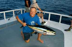 Yellowfin tuna caught on a surface popper in The Maldives