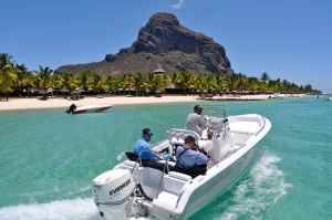 Scott & Hywel setting off for a session fly fishing under the impressive Le Morne mountain, Mauritius, well someones got to do it!