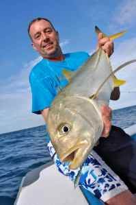 Terry with a nice blacktip trevally caught spinning