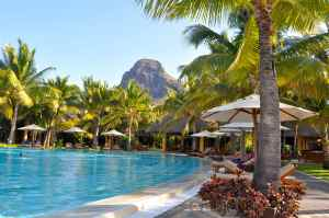 The pool at idyllic Paradis Hotel, Mauritius