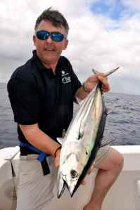 Hywel Morgan with a skipjack tuna