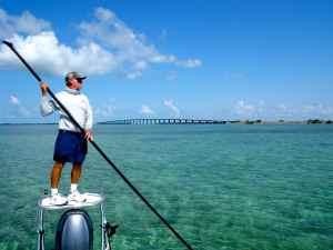 Capt Bill Basset poling the ocean side, Middle Keys flats near Islamorada