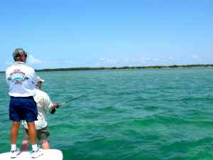 Andrew Leaves getting ready to cast a fly at a cruising tarpon off Long Key