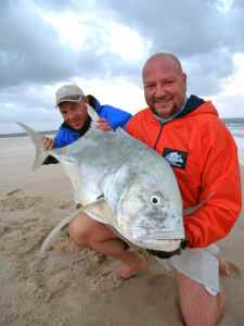John Shervington with his big GT caught from the sand spit, Linene Island, Mozambique
