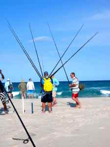 Preparing for a session from the beach, Linene Island, Mozambique