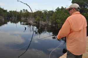 Del Elliot fly fishing for tarpon