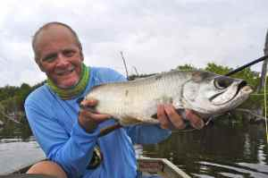 Tarpon average 5-15lb; great sport on a 9wt