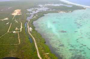 Little Cayman from the air, note the cloudy patch of water, thats a 'mud', caused by a  of bonefish!