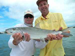 Capt Bill Basset & Terry with a 6lb bonefish caught on the flat directly in front of Bud n' Mary's Marina