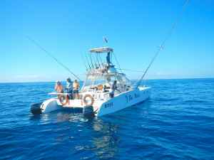 Part of our group jigging aboard one of the camp boats, 'Blue Marlin'