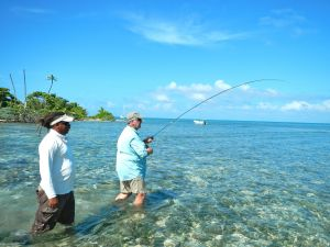 RAY JENNINGS PLAYING A GOOD FISH ON THE SAPODILLA KEYS