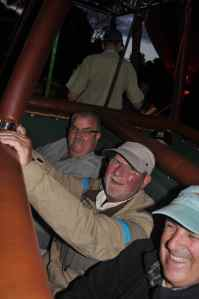 Bob Clements about to set off on a dawn balloon ride across the Masai Mara, Kenya