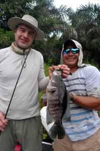 Jim Butler & Rito  with one of many rainbow bass