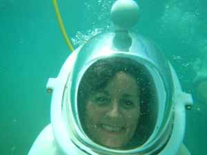 Mrs Lewis, 'Alison', finally finds a way of going for a swim without getting her hair wet!