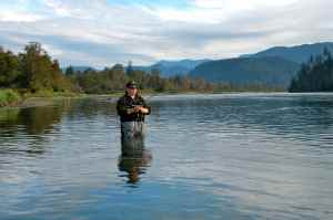 Byron Way fly fishing the Harrison. If you want to catch salmon at an affordable price, BC is the place to go.