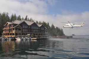 Guests arriving at West Sport Fishing's impressive King Pacific Lodge via helicopter