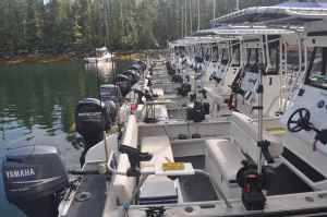 Sport fishing fleet at King Pacific Lodge
