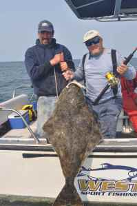 A nice Pacific halibut caught, as many others were, on a Storm Giant Swim Shad