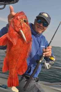 A vermillion rock fish, one of 15 new species I caught during this trip