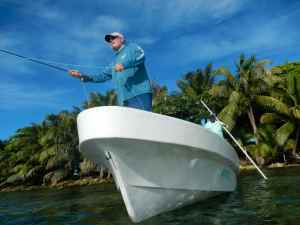 Casting to a bonefish off Ranguana