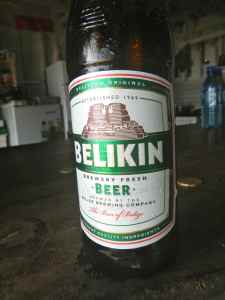 A cold Belikin, the perfect end to a 'tough' day on the flats