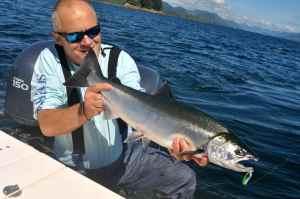 A bright silver coho caught on our first afternoon.