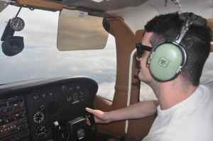 Luke takes the controls for the short 30 minute flight from San Jose to Nicaragua.