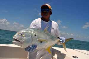 Rito holds a jack crevalle, a frequently caught species when targeting tarpon.