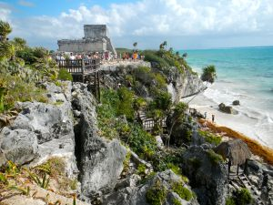 The beautiful Mayan ruins site at Tulum