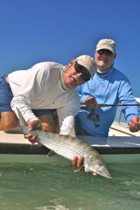 Andrew & Capt. Bill pose with a decent bonefish