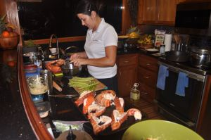 Erica working her magic; guess whats for dinner!