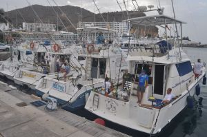 The sport fishing fleet based at Puerto Rico, Gran Canaria, 'Reel Time' sits second from right.