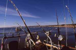 South African ski boat rigged for serious blue water fishing
