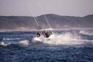 Ski Boat launching at Sodwana Bay, Kwazulu Natal, South Africa, and that's a calm day!