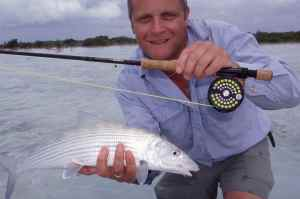 A lovely bonefish caught on fly in the Turks & Caicos Islands