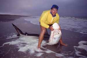 John with Clive's first shark before release